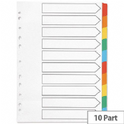 Q-Connect Index A4 Multi-Punched 10-Part Reinforced Multi-Colour Blank Divider Tabs